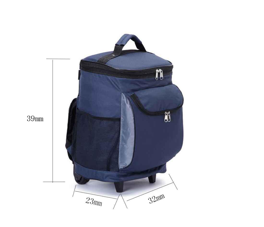 Cooler Bags on wheels for Portable Outdoor Travel Backpack pull rod Cooler Bags Food Storage black Refrigerator