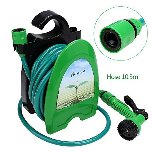 Voluker Garden Hose Nozzle Spray Nozzle High Pressure with 34FT Expandable Water Tube - 8 Adjustable Watering Patterns - Pistol Grip Front Trigger - Hanged on the Wall or Placed on the Ground by Voluker