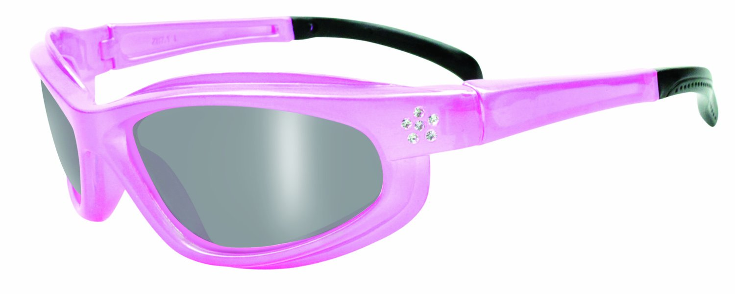 c5cb8070c4a0 SSP Eyewear Women s Safety Glasses with Rhinestone Accent Pink Frames and  Silver Mirrored Shatterproof Lenses