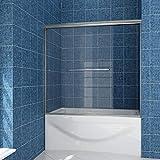 SUNNY SHOWER 58.5' - 60' Width x 57 3/8' Height Semi Framed Bypass Sliding Bathtub Doors 1/4' Clear Glass,Brushed Nickel Finish