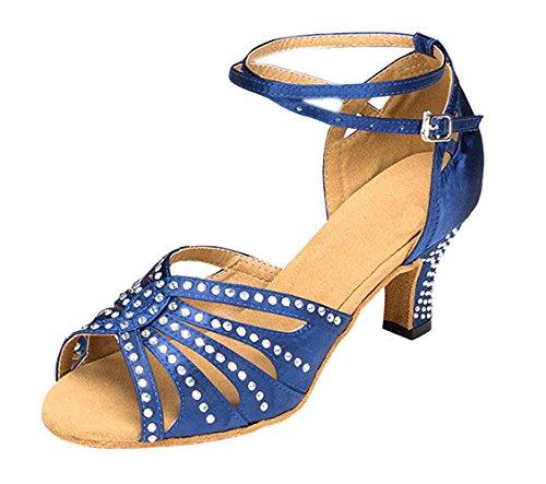 Honeystore Womens Ankelrem Dansskor Konstgjorda Mocka Sula Latin Sandaler Balsal Mary Jeansblå