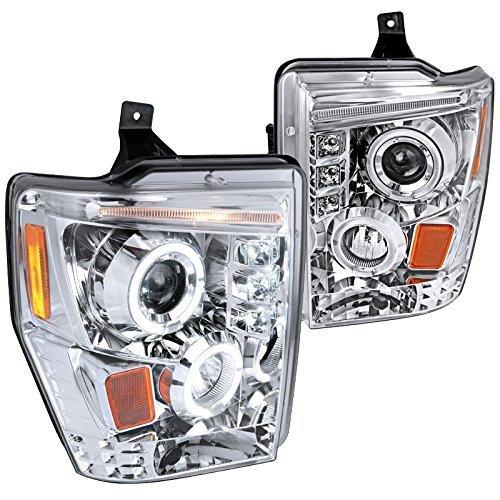 Spec-D Tuning 2LHP-F25008-TM Ford F250 F350 F450 Chrome Clear Led Projector Halo Head Lights