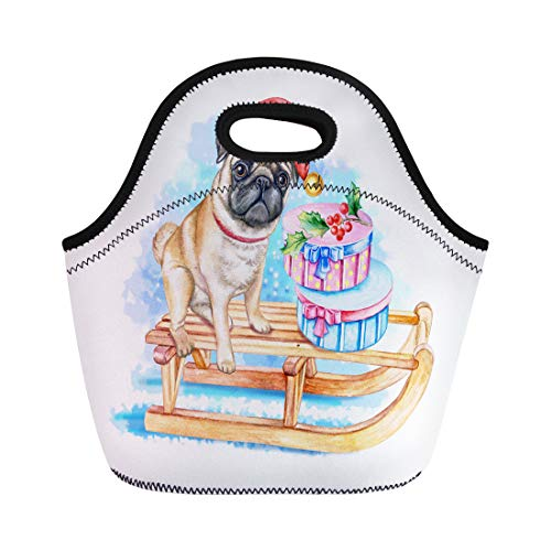 Semtomn Lunch Tote Bag Blue Pug Dog on Sleigh in Santa Hat Bows Reusable Neoprene Insulated Thermal Outdoor Picnic Lunchbox for Men Women