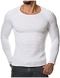 Men's Stretch Solid Pullover Knitted Sweaters Slim Fit O-Neck Long Sleeve Casual Crewneck Sweater