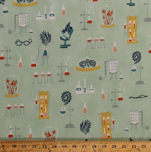 Cotton Science Lab Equipment Experiments Biology Chemistry Vials Flasks Microscopes Safety Goggles Glasses Plants Supernova Laboratory Yucca Education Cotton Fabric Print by Yard (STELLA-SRR799-YUCCA) ()