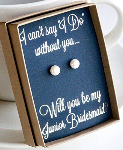Navy Junior Bridesmaid in Wedding Pearl Earring Set with Silver Foil Writing Gift