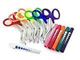 ASSORTED RAINBOW 6 PCS PINK EMT FIRST RESPONDER 7.5'' SHEARS + ASSORTED RAINBOW DISPOSABLE PENLIGHTS - IDEAL GIFT FOR NURSES, EMT, FIREFIGHTER, POLICE AND MILITARY