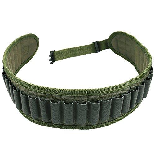 30 Rounds Shotgun Shell Holder Belt,Tactical Shooting Gun Bullet Belt Pouch, Waterproof Canvas Cartridge Ammunition Belt, Shotgun Ammo Bandolier Holder Belt (Army Green)