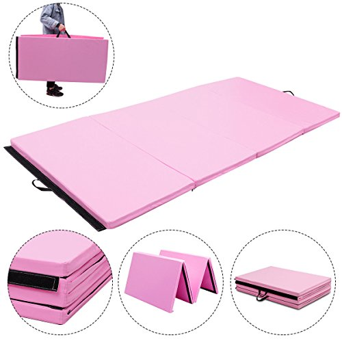 Exercise Mat Pink 4'x8'x2 Gymnastics Mat Thick Folding Panel Gym Fitness with Ebook
