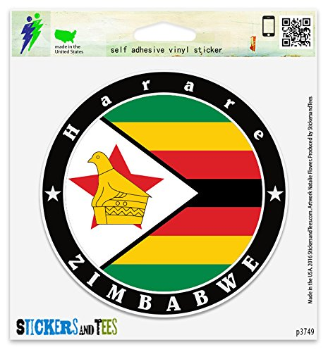 Zimbabwe Harare Vinyl Car Bumper Window Sticker 4' x 4'