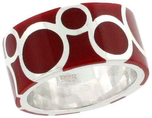 (Sterling Silver Circles Ring for Women Hefty Red Enamel Flawless Polished Finish 3/8 inch size 10)