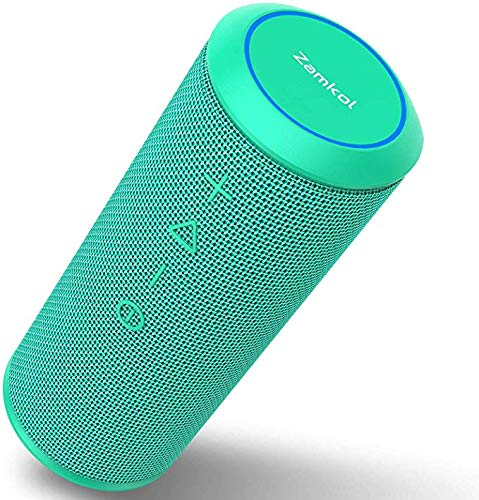 Waterproof Bluetooth Speakers - Zamkol Portable Wireless Speaker V5.0 with Powerful 24W with 360° Bass Sound, TWS, 24H Playtime & IPX6 Waterproof, Suitable for Travel, Home and Outdoors-Teal