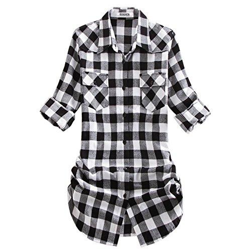 Womens Flannel Plaid (OCHENTA Women's Roll up Sleeve Flannel Plaid Shirt C055 Black White Lable 8XL - US 18)