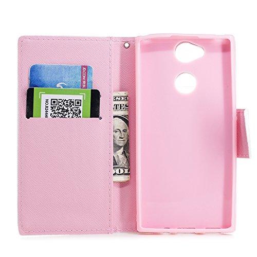 Sony Xperia XA2 Hülle Leder, Lomogo Schutzhülle Brieftasche mit Kartenfach Klappbar Magnetverschluss Stoßfest Kratzfest Handyhülle Case für Sony Xperia XA2 - LOHEX25504 #11 #6