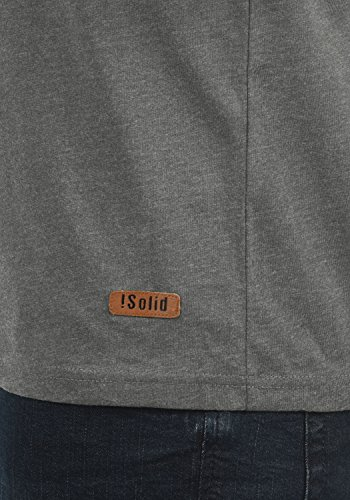 Camiseta de Tunisian para Solid Volko hombre larga Melange manga 8236 Grey BpBwSx4