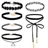 FIBO STEEL 6PCS Womens Black Velvet Choker Necklace for Women Lace Choker Tattoo Necklace
