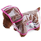 LUCKSTAR Foldable Waterproof Transparent Raincoat Rainwear PonCho Clothes Dress With Color Border For Puppy Dog Poodle Pet (Rose Red Border, M)