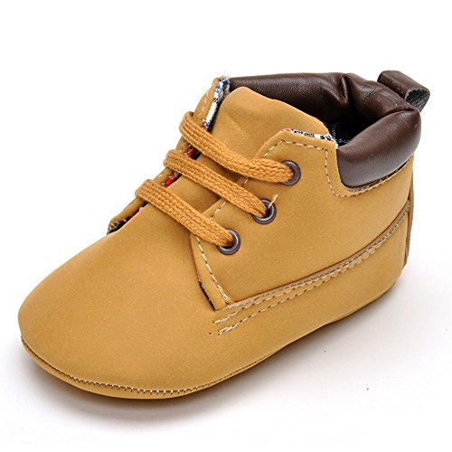 Enteer Infant Boys High-Top Sneaker Brown Baby Shoes US 4 (Infant Soft Bottom Shoes Boys)