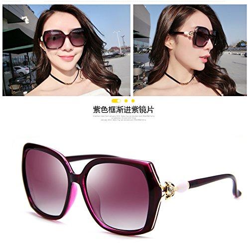 Con Gafas Llztyj Progressive Mujer Sol gafas Frente Gris gafas Box De Mujer Para Grande decoración cumpleaños Redondo Sol Borgoña Purple regalos luz impulsión Sol polarizado marco viento gafas qCR6Cpxrd
