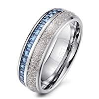 Tiitc Rings for Men Women Tungsten Carbide Meteorite with Blue Carbon Fiber Wedding Engagement Band 8mm