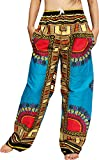 RaanPahMuang African Dashiki Rising Sun Elastic Waist Ankara Pants, Large, Angelina - Dodger Blue