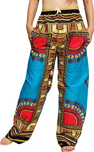 RaanPahMuang African Dashiki Rising Sun Elastic Waist Ankara Pants, Large, Angelina - Dodger Blue by RaanPahMuang