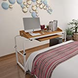 Huisenus Computer Table Desk Slide Under Sofa Bed Height Adjustable with Wheels & PC Case Tray& Keyboard Drawer Utility Table Desk for Eating Reading on Hospital Bedroom