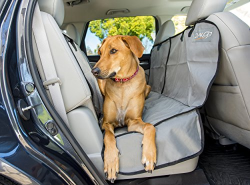 [Dog Car Hammock - Large Back Seat Cover for Pets - Waterproof and Non-slip Backing - Quilted, Padded, Durable, with Side Flaps - Dog Seat Belt Included] (Sliding Side Reins)