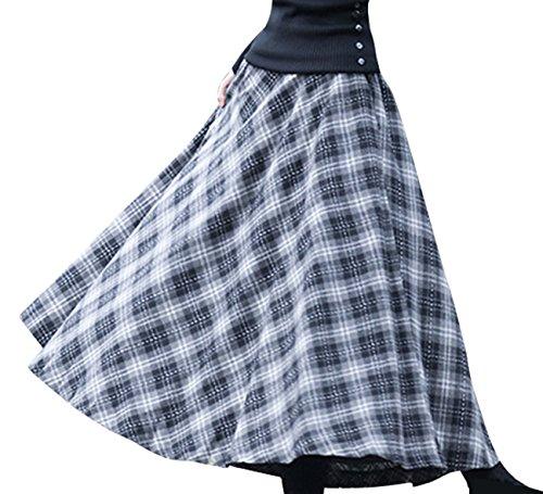 BININBOX Damen Kleid Falten rock Woll rock Tellerrock Lange Verdichter Rock Herbst Winter Skirt Grau-Weiß