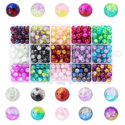 Multicolor Round Handcrafted Crackle Glass Beads 8mm Lampwork Czech for Kids with Container for Jewelry Making DIY and Craft(15 Colors)