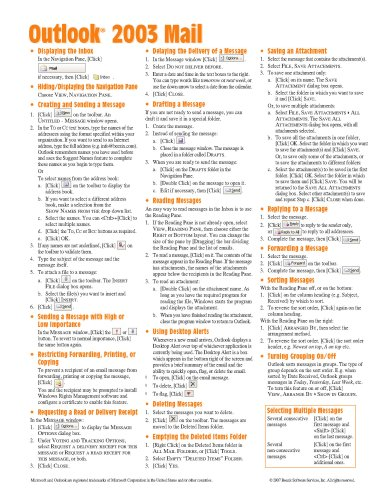 Microsoft Outlook 2003 Mail Quick Reference Guide (Cheat Sheet of Instructions, Tips & Shortcuts - Laminated Card) Beezix Inc.