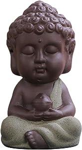 Snobbery Buddha Statue Adorable Monk Figurine Tathagata India Yoga Mandala Sculptures Ceramic Craft Decoration Car Home Ornaments Sand Flower Garden Decors (Army Green)