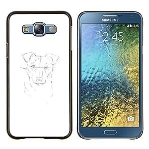 KLONGSHOP // Cubierta de piel con cierre a presión Shell trasero duro de goma Protección Caso - pintura del perro dibujo dibujo a lápiz blanco - Samsung Galaxy E7 E700 //