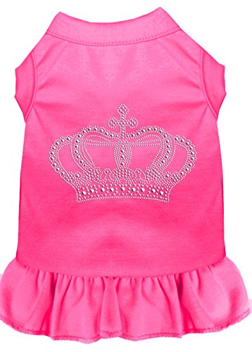 Mirage Pet Products Rhinestone Crown Dress, Small, Bright Pink