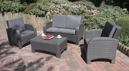 Sofa Set Lounge Set Sofa 2 Sessel Tisch mit Kissen Poly-Rattan coffee