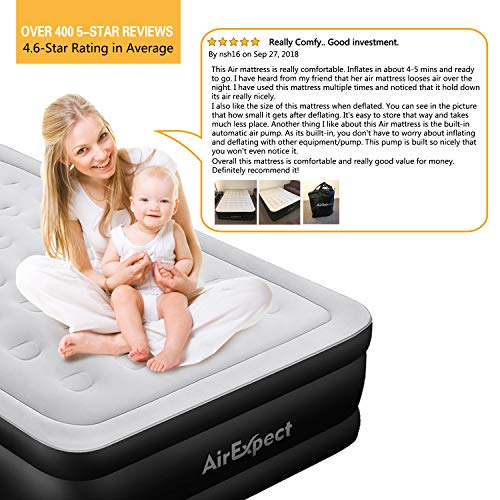 Queen Air Mattress with Built-in Pump AirExpect Upgraded 0.7mm Thickness Leak Proof Inflatable Mattress Double High Elevated Airbed Blow up Bed for Guests 2-Year Warranty 80/×60/×19 Inches