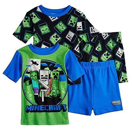 (Minecraft Boys' 4-Piece Cotton Pajama Set (8, Blue/Green))