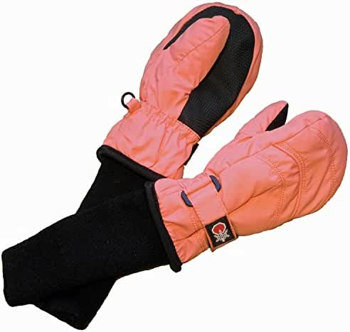 SnowStoppers Kid's Nylon Waterproof Snow Colorful Mittens (Pink, X-Large)