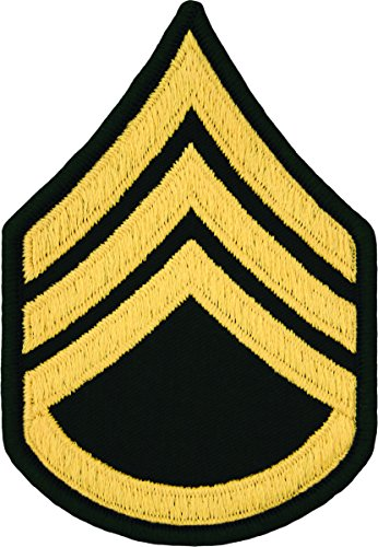 Staff Sergeant E-6 Army Chevrons - Gold on Green (Male) (Army Uniform Rank)