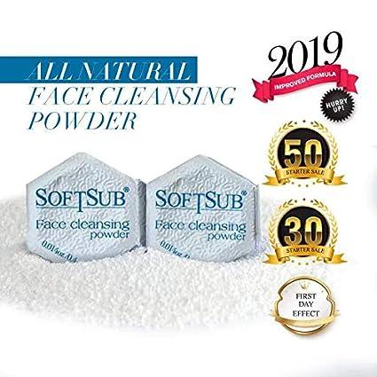 Polvo limpiador facial de enzimas de Softsub, limpieza profunda y exfoliación - limpiar imperfecciones de los poros, piel seca y sensible con ...