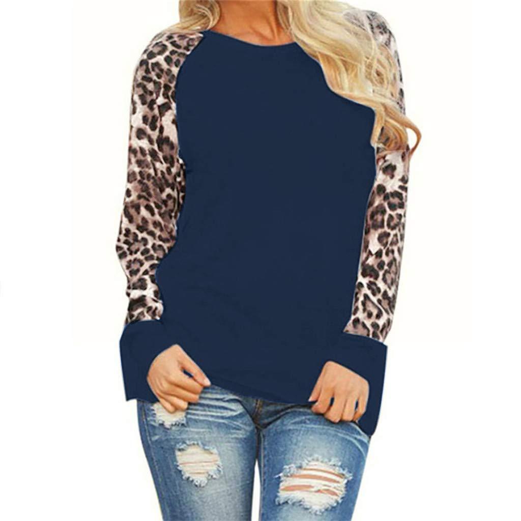 T-Shirt Maniche Lunghe Elegante Felpa O-Collo di Lavoro e Ufficio Camicetta Moda Oversize Leopardato Autunno Camicette Camicie Casual Top