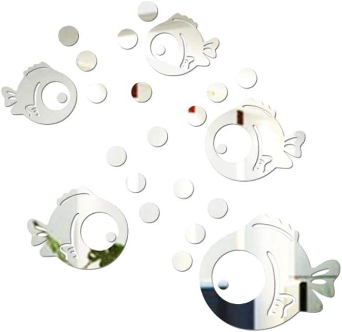 VORCOOL 3D Pegatina de Pared de Acrílico Peces y Burbujas Pegatinas de Espejo para Dormitorio Sala de Estar Baño Decoración Plata