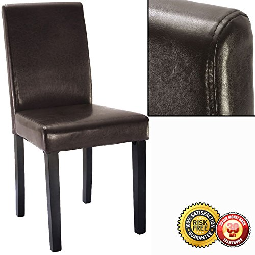 New Set of 2 Elegant Design Leather Contemporary Dining Chairs Home Room