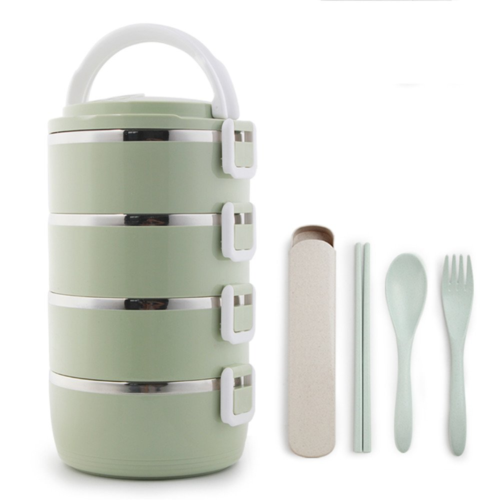 AGOAIX Stainless Steel Lunch Box/Insulated Box Bento Boxes/Adult Cute Insulated Boxes/Round Portable Stainless Steel Students Insulated Lunch Boxes,Beige Four Layer,Diameter 16*26.5Cm