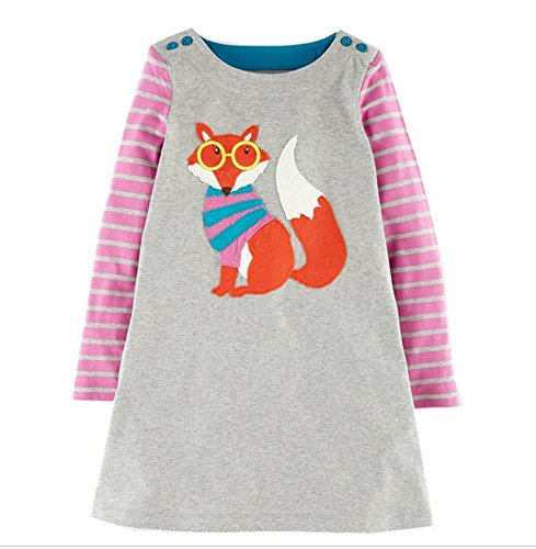 Toddler Little Girl Long Sleeve Cotton Cartoon Glass Cat Strip Party Dress 2-7,4T/110cm,20#glasscat -