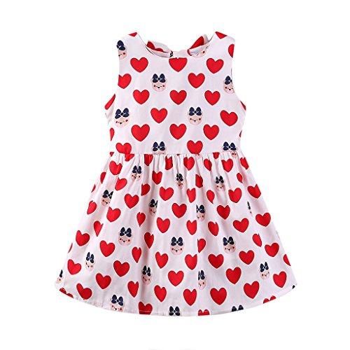 - Mud Kingdom Little Girl Dresses Backless Cute Bear 4T Red
