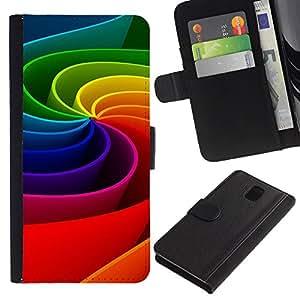Planetar® Modelo colorido cuero carpeta tirón caso cubierta piel Holster Funda protección Para Samsung Galaxy Note 3 III ( Arte colorido del arco iris de la rueda de movimiento 3D )