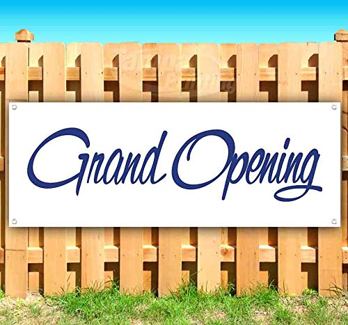 Grand Opening 13 oz Heavy Duty Vinyl Banner Sign with Metal Grommets, New, Store, Advertising, Flag, (Many Sizes Available) (Opening Outdoor Banner)