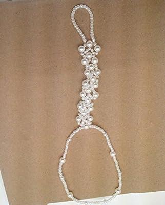 2PCS(1 Pair) Pearl Barefoot Sandals Beach Wedding Foot Jewelry Anklet Ankle Bridal Bracele by CJESLNA