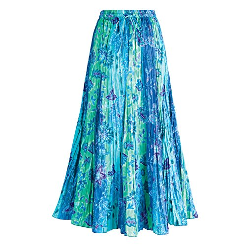 UPC 712131824652, Women's Peasant Skirt - Cyan Blue Panel Long Cotton Skirt - Medium